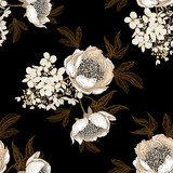 Seamless pattern with peonies and hydrangea flowers. Vector background. - 242159017