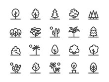Trees, Plants Line Icon. Vector Illustration Flat Style. Included Icons As Fir Tree, Palm, Park, Desert Cactus, Bush, Forest And More. Editable Stroke. 30x30 Pixel Perfect