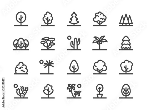 Fotografia Trees, Plants Line Icon