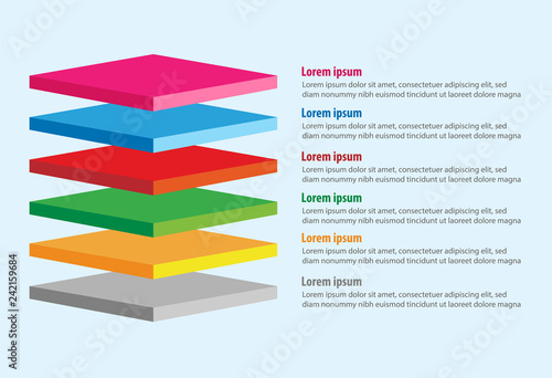 Photo Vector of four 3D square layers infographic template