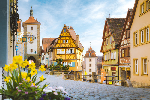 Tuinposter Centraal Europa Medieval town of Rothenburg ob der Tauber in summer, Bavaria, Germany