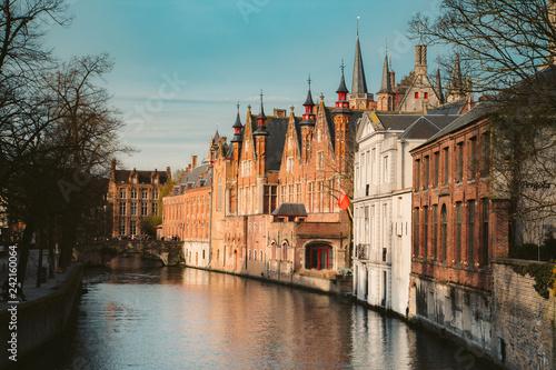 Tuinposter Centraal Europa Historic city center of Brugge, Flanders, Belgium