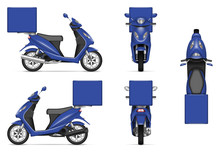 Delivery Motorcycle Vector Mockup For Vehicle Branding, Advertising, Corporate Identity. Isolated Template Of Realistic Blue Scooter On White Background. All Elements In The Groups On Separate Layers