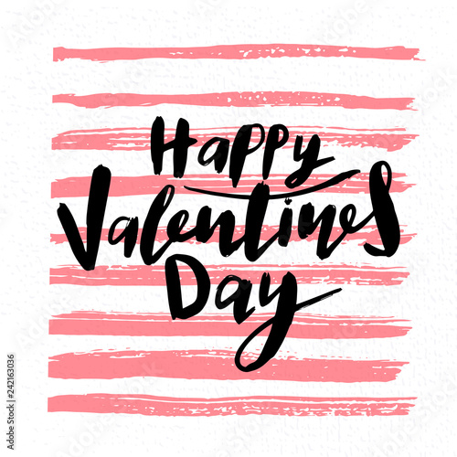 Fotografering  happy valentines day handwritten lettering holiday design to greeting card, post