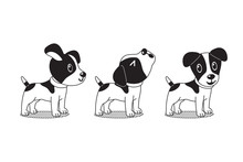 Vector Cartoon Character Cute Jack Russell Terrier Dog Poses For Design.
