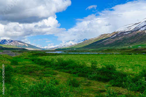 Foto op Plexiglas Groene Landscape and countryside in the Bardardalur district