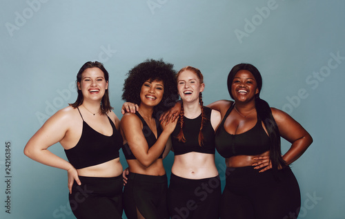 Diverse women embracing their natural bodies Canvas Print