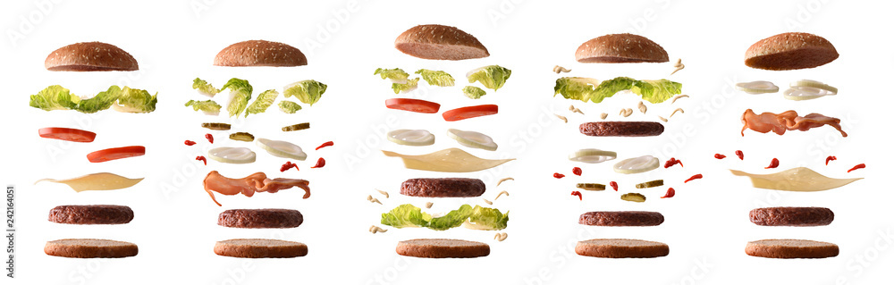 Fototapety, obrazy: Set of different burgers with ingredients by layers white isolated