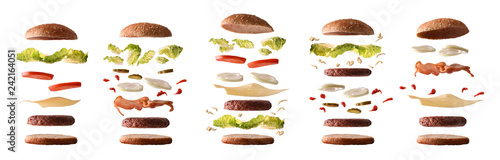 Set of different burgers with ingredients by layers white isolated