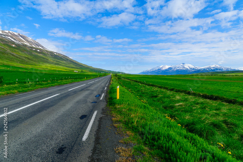 Tuinposter Groene Landscape and countryside along the Eyjafjordur