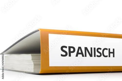 Foto  oranger Aktenordner gefüllt mit Papierseiten und Beschriftung Spanisch liegend v