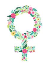 Beautiful Floral Feminine Symbol Of Venus As Female Gender Sign