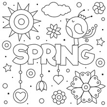 Spring. Coloring Page. Black And White Vector Illustration.