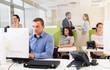 Confident businessman work with laptop
