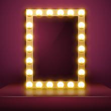 Make Up Mirror With Light. Vector Artist Dressing Room. Make-up Mirror