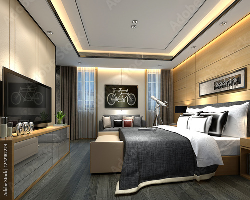 Fotomural 3d render luxury hotel room, hospitality