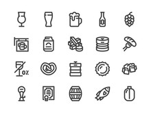 Beer Line Icon. Vector Illustration Flat Style. Included Icons As Bar Signboard, Snacks, Non-Alcoholic Drink, Glass, Keg, Bottle And More. Editable Stroke. 30x30 Pixel Perfect