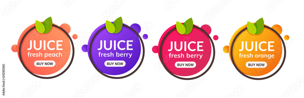 Fototapeta Juice fresh fruit label icon. Orange, lemon, berry, peach healthy juice design sticker