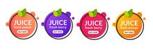 Juice Fresh Fruit Label Icon. Orange, Lemon, Berry, Peach Healthy Juice Design Sticker