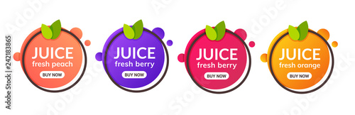 Fototapeta Juice fresh fruit label icon. Orange, lemon, berry, peach healthy juice design sticker obraz
