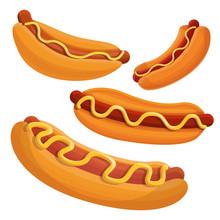 Hot Dog Icon Set. Cartoon Set Of Hot Dog Vector Icons For Web Design
