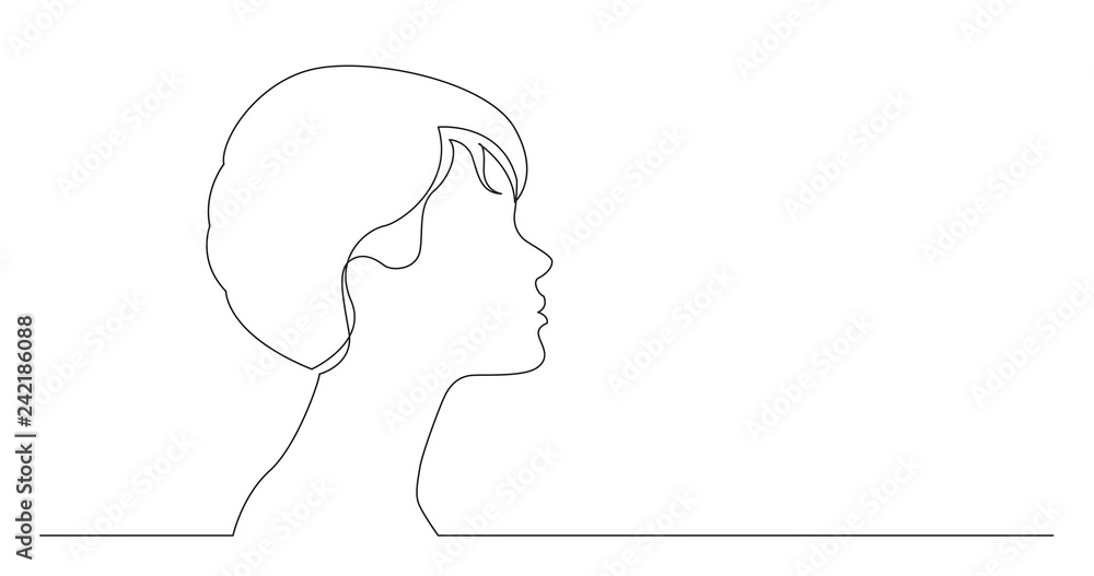 Fototapeta profile portrait of young elegant style woman - continuous line drawing on white background