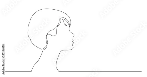 Fototapeta profile portrait of young elegant style woman - continuous line drawing on white background obraz