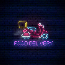 Glowing Neon Food Delivery Sign With Delivering Scooter. Fast Delivery Symbol In Neon Style.