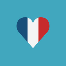 France Flag Icon In A Heart Shape In Flat Design. Independence Day Or National Day Holiday Concept.