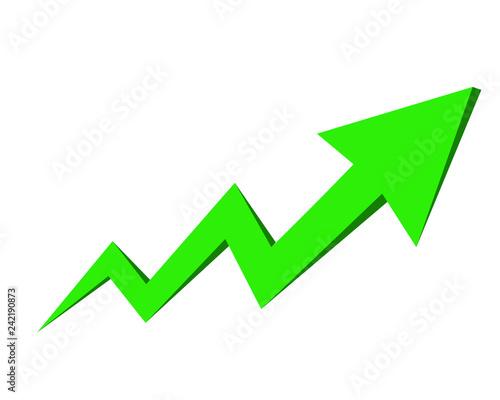 Obraz Zielona strzałka symbolizująca wzrosty - fototapety do salonu