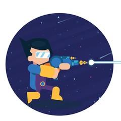 Vector star warrior gaming character boy shooting laser