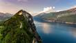 canvas print picture - Italien: Gardasee am Abend nach Sonnenuntergang