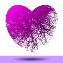 An Abstract Heart With Tree Branches Is At The Center Of This Valentine Graphic