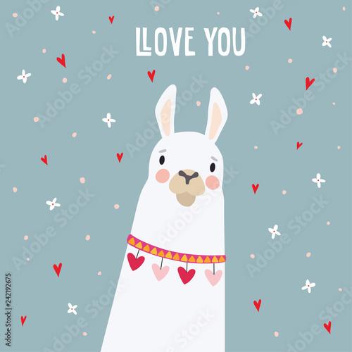Cute birthday or Valentines day greeting card, invitation Fototapet