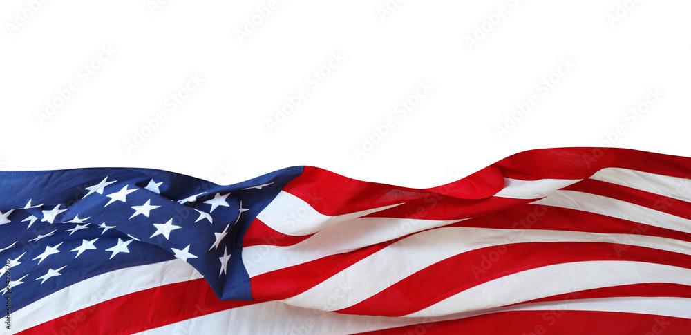 Fototapety, obrazy: USA flag on white