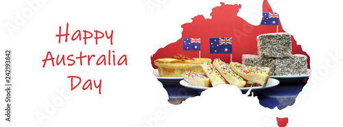 Map of Australia showing traditional Aussie tucker party food sized to fit a popular social media cover image placeholder Tapéta, Fotótapéta