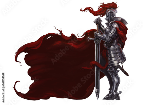 Fototapeta Medieval knight with long sword