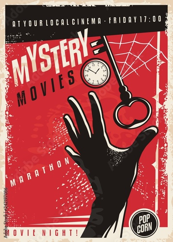 Fotografía Mystery movies marathon retro cinema poster design