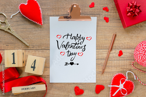 Flat Lay Greeting Card Clipboard With Text Happy Valentine S Day