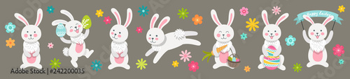 Set of cute Easter cartoon characters rabbits and design elements flowers. Easter bunny and flowers. Vector illustration.