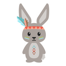 Tribal Woodland Bunny Rabbit Illustration - Bunny Rabbit In Tribal Inspired Designs Wearing Feather Headband Isolated On White Background