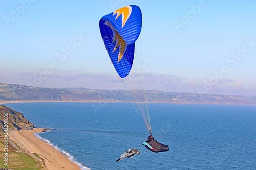 Paraglider at Beesands at Halloween