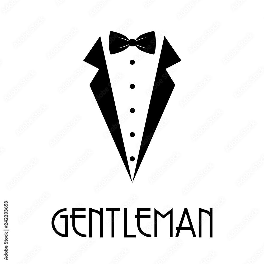 Fototapeta Logotipo con texto GENTLEMAN con corbata de lazo y solapas de chaqueta en color negro