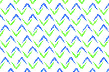 Painted Blue And Green Chevron...