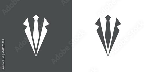 Fotografering Icono plano con corbata y solapas de chaqueta en gris y blanco