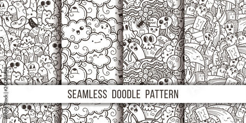 Collection of funny doodle monsters seamless pattern for prints, designs and coloring books - 242203898