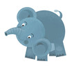 cartoon scene with elephant on white background looking and smiling - illustration for children