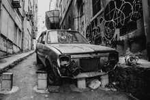 Abandoned Old Car In The Streets Of Istanbul, Turkey