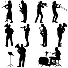 Set Silhouette Of Musician Pla...