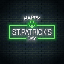 Patrick Day Neon Banner. Patri...